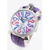 ガガミラノ 腕時計スーパーコピーマニュアーレ48mm 手巻き スモールセコンド レザー ライトパープル/ホワイト メンズ 5010.09S
