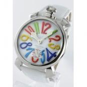 ガガミラノ 腕時計スーパーコピーマニュアーレ48mm 手巻き スモールセコンド レザー ホワイト メンズ 5010.1
