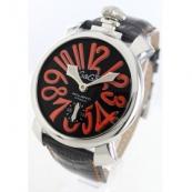 ガガミラノコピー腕時計 マニュアーレ48mm 手巻き スモールセコンド レザー ブラック メンズ 5010.11