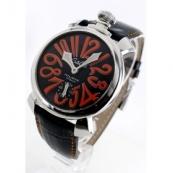 ガガミラノ 腕時計スーパーコピーマニュアーレ48mm 手巻き スモールセコンド レザー ブラック メンズ 5010.11S
