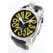 ガガミラノ コピー腕時計マニュアーレ48mm 手巻き スモールセコンド レザー ブラック メンズ 5010.12