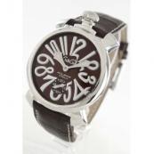 ガガミラノ腕時計スーパーコピー マニュアーレ48mm 手巻き スモールセコンド レザー ダークブラウン メンズ 5010.13S