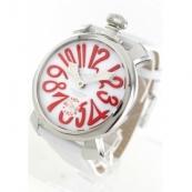 ガガミラノ腕時計スーパーコピー マニュアーレ48mm 手巻き スモールセコンド レザー ホワイト メンズ 5010.14S
