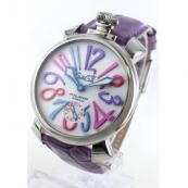 ガガミラノ コピー腕時計マニュアーレ48mm 手巻き スモールセコンド レザー ライトパープル/ホワイト メンズ 5010.9