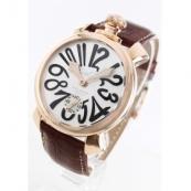 ガガミラノ 腕時計スーパーコピーマニュアーレ48mm 手巻き スモールセコンド レザー ブラウン/PGPシルバー メンズ 5011.06S