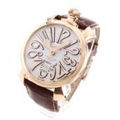 ガガミラ腕時計スーパーコピーノ マニュアーレ48mm 手巻き スモールセコンド レザー ブラウン/PGPホワイト メンズ 5011.08S