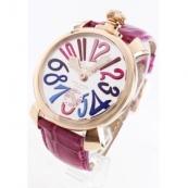 ガガミラノコピー腕時計 マニュアーレ48mm 手巻き スモールセコンド レザー ピンク/PGPシルバー メンズ 5011.09S