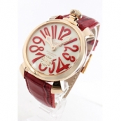 ガガミラノ 腕時計スーパーコピーマニュアーレ48mm 手巻き スモールセコンド レザー レッド/PGPアイボリー メンズ 5011.10S