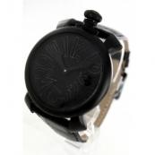 ガガミラノ 腕時計スーパーコピーマニュアーレ48mm 手巻き スモールセコンド レザー ブラック メンズ 5012.02S
