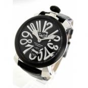 ガガミラノコピー腕時計 マニュアーレ48mm 手巻き スモールセコンド レザー カーボンブラック メンズ 5013.01S