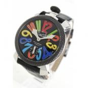 ガガミラノ腕時計スーパーコピー マニュアーレ48mm 手巻き スモールセコンド レザー ブラック メンズ 5015S