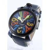 ガガミラノ 腕時計スーパーコピーマニュアーレ48mm 手巻き スモールセコンド レザー ブルー メンズ 5016.4