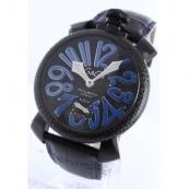 ガガミラノ 腕時計スーパーコピーマニュアーレ48mm スモールセコンド レザー カーボンブラック メンズ 5016.7