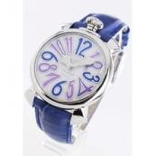ガガミラノ腕時計スーパーコピー マニュアーレ40mm レザー ブルー/ホワイトシェル ボーイズ 5020.3