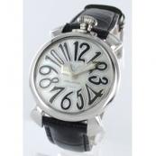 ガガミラノ腕時計スーパーコピー マニュアーレ40mm レザー ブラック/ホワイトシェル ボーイズ 5020.5