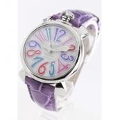 ガガミラノ コピー腕時計マニュアーレ40mm レザー ライトパープル/ホワイトシェル ボーイズ 5020.7