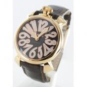 ガガミラノ腕時計スーパーコピー マニュアーレ40mm レザー ダークブラウン/GPブラックシェル ボーイズ 5021.3