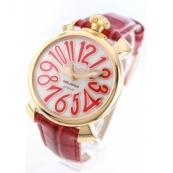 ガガミラノ腕時計スーパーコピー マニュアーレ40mm レザー レッド/GPホワイトシェル ボーイズ 5021.5