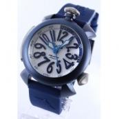 高級時計ガガミラノ ダイビング48mm チタン オートマチック ラバー ブルー/ホワイト メンズ 5043