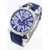 ガガミラノ時計スーパーコピースリム46mm スモールセコンド レザー ブルー メンズ 5084.3