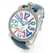 ガガミラノコピー腕時計 マニュアーレ48mm 手巻き スモールセコンド レザー ダークブルー/シルバー メンズ 5510.1
