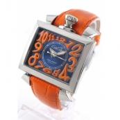 人気腕時計ガガミラノ ナポレオーネ48mm オートマチック レザー オレンジ/ブルー メンズ 6000.4