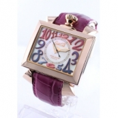 ガガミラノ ナポレオーネ48mm時計スーパーコピーオートマチック レザー ピンク/PGPホワイトシェル メンズ 6001.1