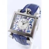 高級時計ガガミラノ ナポレオーネ40mm レザー ブルー/ホワイトシェル ボーイズ 6030.3
