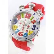 ガガミラノ時計スーパーコピー クロノ48mm ラバー レッド/シルバー メンズ 6050.1