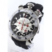 ガガミラノ時計スーパーコピークロノ48mm ラバー ブラック/シルバー メンズ 6050.7