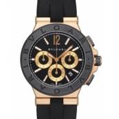 ブルガリ 時計ディアゴノ コピーDGP42BGCVDCH セラミック セラミックベゼル クロノグラフ ブラックダイアル
