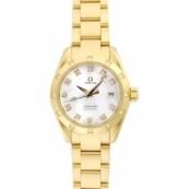 オメガ時計スーパーコピー シーマスター 価格アクアテラ 2164.75 オートマチック ダイヤモンド ホワイトシェル レディース