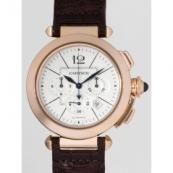 カルティエ 腕時計スーパーコピー パシャ 42mm クロノグラフ W3019951 PG/ブラウン革 シルバー