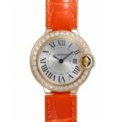 カルティエ時計スーパーコピー バロンブルーWE900151 SM 18KYG シルバー文字盤 クォーツ レザー