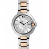 カルティエ時計スーパーコピー バロンブルー 新品WE902044 シルバーギョーシェ11Pダイヤ