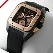 ブランド カルティエ時計スーパーコピー サントス100 クロノLM カーボン コンビ W2020004