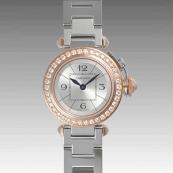 カルティエ時計スーパーコピー ミスパシャスティール & ゴールド ダイヤモンド パヴェWJ124021