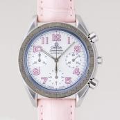オメガ コピー スピードマスター ピンク革 ホワイトシェルピンクアラビア 3834.74.34