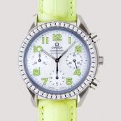 オメガ コピー スピードマスター ダイヤベゼル グリーン革 ホワイトシェルグリーンアラビア 3835.72.35