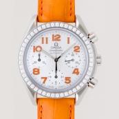 オメガ コピー スピードマスター ダイヤベゼル オレンジ革 ホワイトシェルオレンジアラビア 3835.78.38