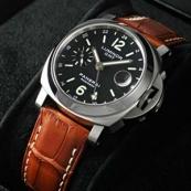PANERAIパネライ ルミノールスーパー時計スーパーコピーGMT ブラックダイアル ブラウンレザーPAM00244