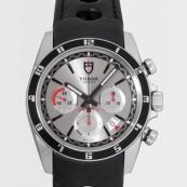 チュードル 腕時計スーパーコピー グランツアークロノ ブラック革 シルバー 20530N
