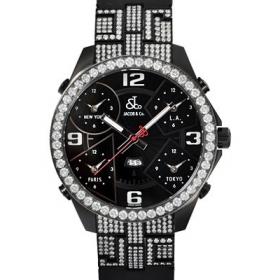 ジェイコブ時計スーパーコピー 5タイムゾーン ステンレスPVD加工 ブラック