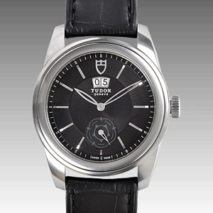 チュードル時計スーパーコピー グラマーダブルデイト自動巻き ブラック 57000